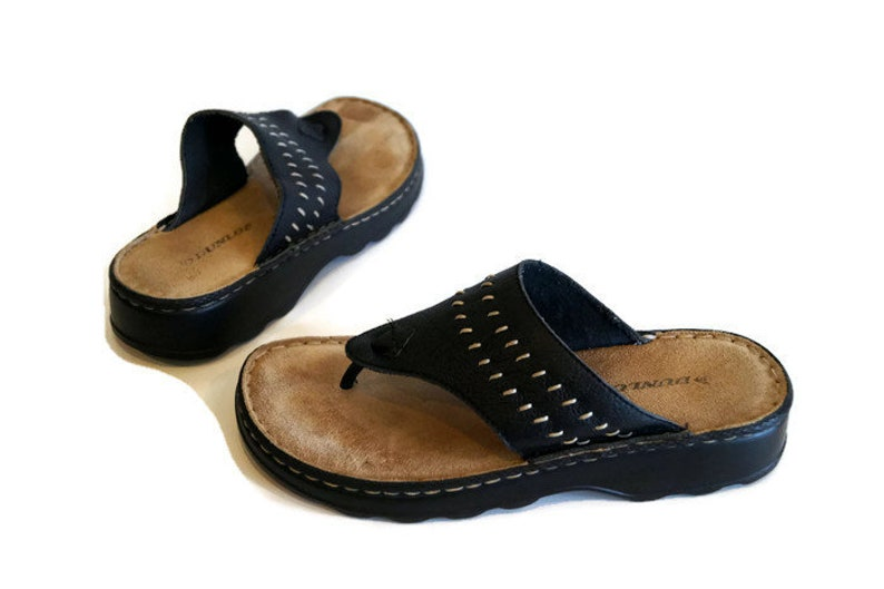 c4ac6ebedad Black leather sandals by DUNLOP Size 4 Made in Brazil. Vintage