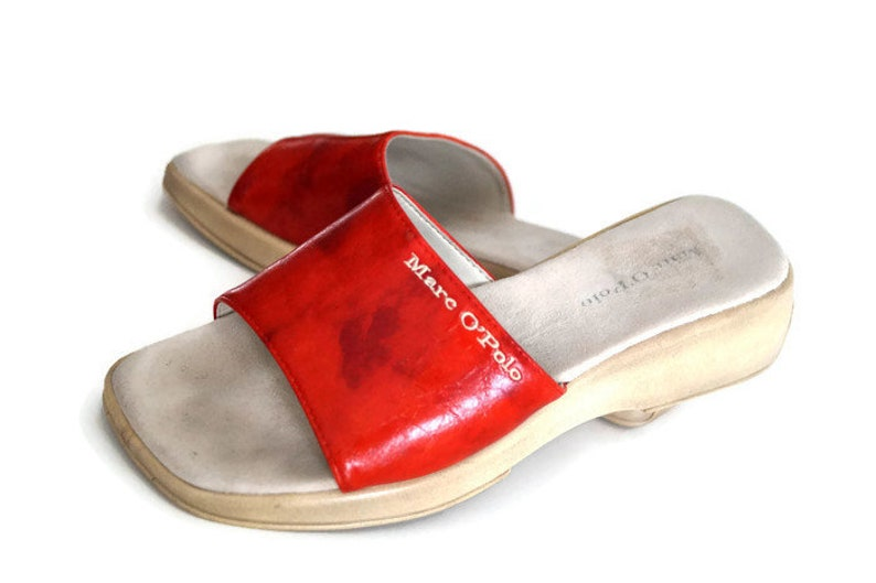 e63121e3dd4 MARCO POLO Leather Slippers Shoes EUR 39 Made in Italy Red