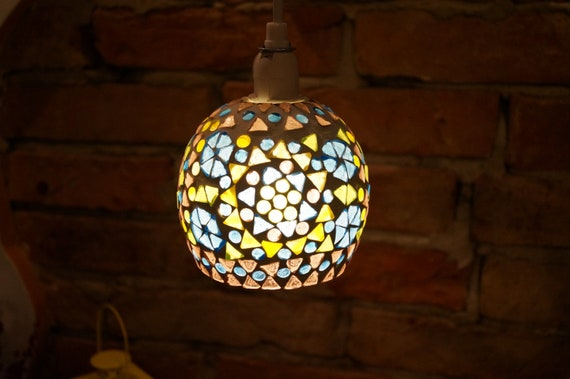 Vintage Stained Glass Pendant Lamp Shades Lights Lamp Glass Lampshade Colorful Stained Glass Light Globes Small Mosaic Lampshade