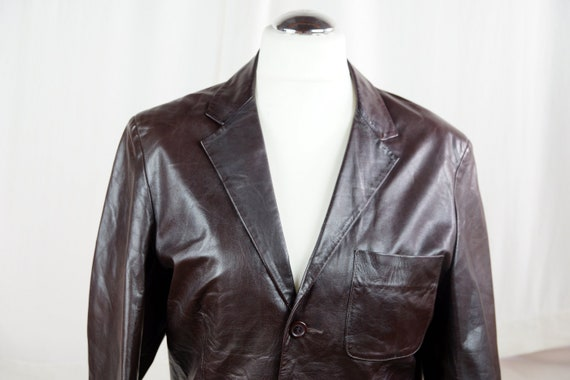 Men's brown leather jacket Vintage leather jacket