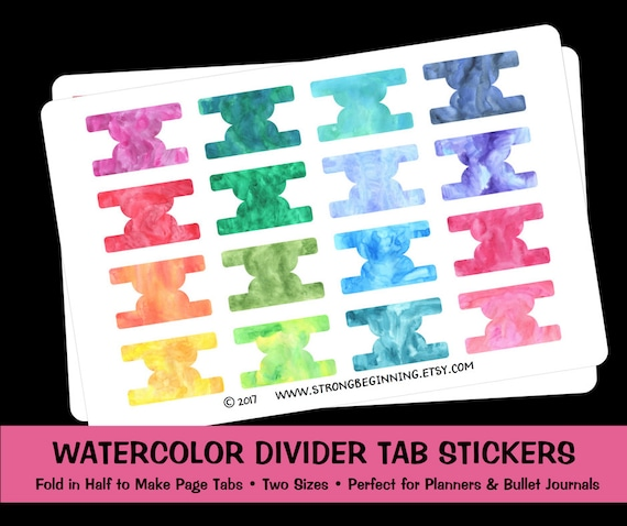 watercolor divider tab stickers planner stickers bullet etsy