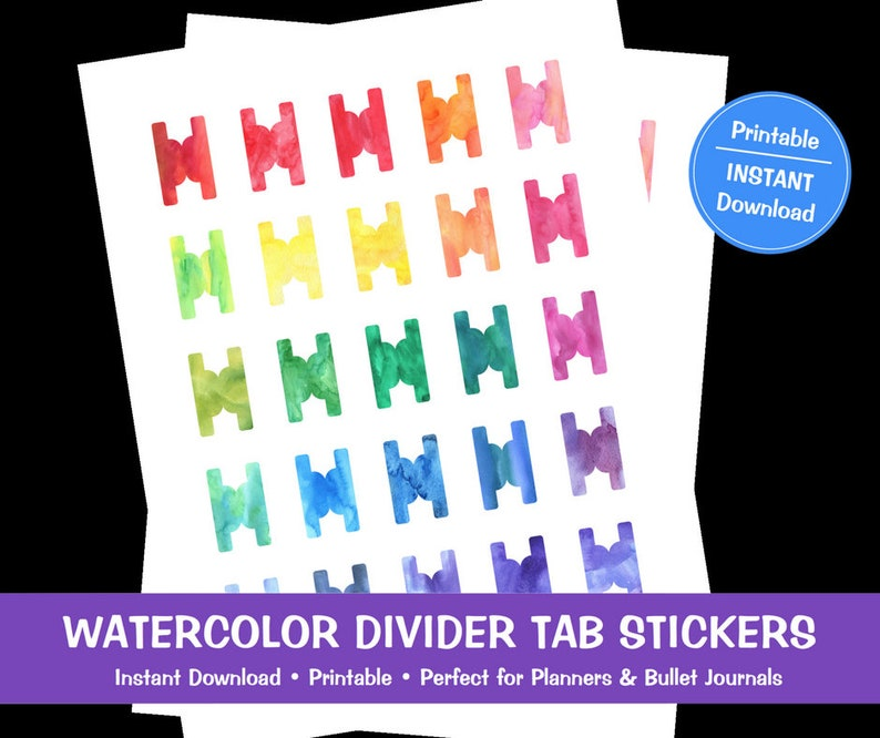 graphic regarding Divider Tabs Printable called Watercolor Divider Tab Stickers, Printable, Prompt Down load, Planner Stickers, Bullet Magazine Stickers, Dividers, Tabs, Planner Tabs