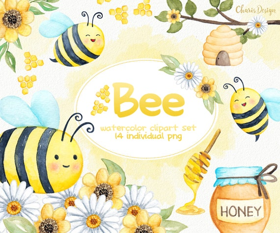 Biene Tier Illustration Aquarell Clipart Baby Kinderzimmer