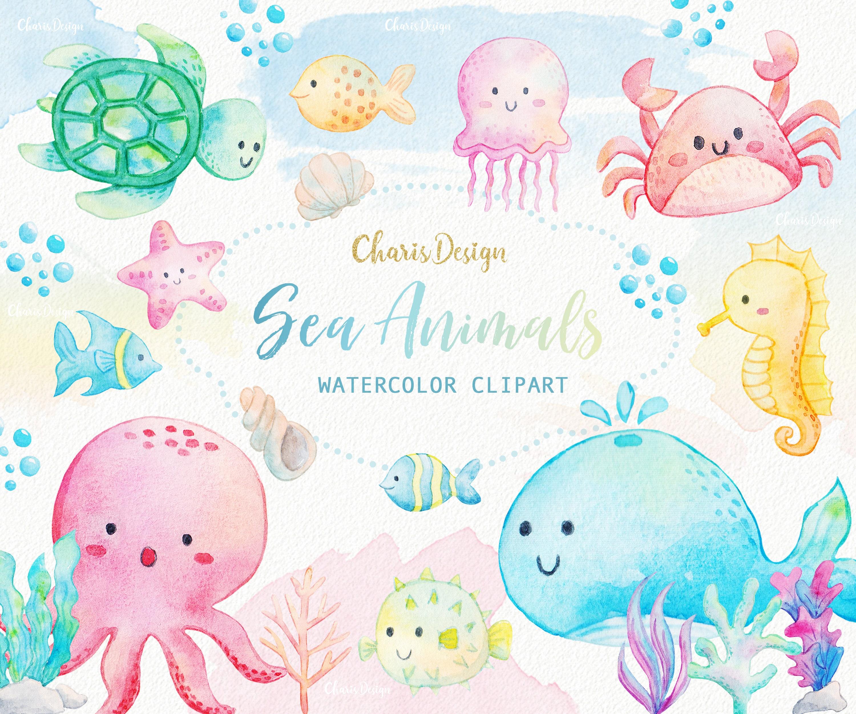 Meer Tiere Aquarell Clipart Ozean Algen Unterwasser Fische   Etsy