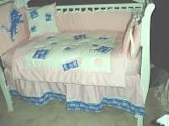 Pink Detroit Lions Custom Made Nursery Baby Crib Bedding