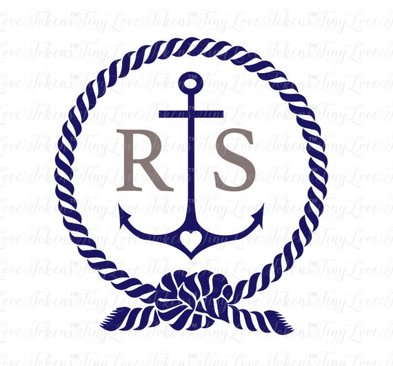 Anchor And Rope Monogram Svg Design For Silhouette And Other Etsy