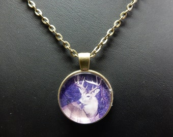 """Ciervos, ciervos, collar medallón, colgante bronce con cadena de 24 """"con no. 0876"""