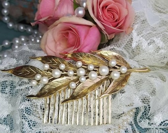 Bridal Vintage Hair Comb Pearl Gold Boho Wedding