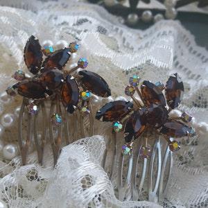 Hair Combs Woodland Wedding Mocha and Aurora Borealis  Bridesmaid Hair combs