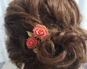 Vintage pink rose gold hair comb flower girl bridal hair accessory boho wedding whimsical