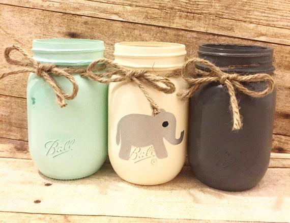 Set of 3 Hand Painted Mason Jars, Nursey Decor, Baby Shower, Rustic Decor,  Centerpieces, Elephant, Gifts, Gifts for baby, Baby Shower Decor!