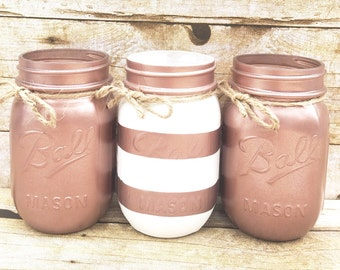 Set of 3 Hand Painted Stripe Mason Jars, Wedding Centerpieces, Teacher Gifts, Spring Wedding, Rose Gold Mason Jars, Rustic, Christmas Gifts!