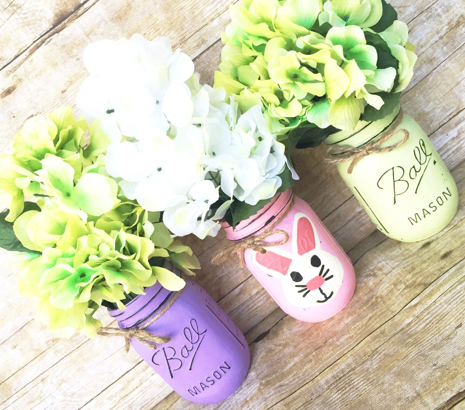 1b81c4b9a0b21 Set Of 3 Hand Painted And Distressed Easter Mason Jars, Spring Mason Jar,  Centerpieces, Spring Decor, Bunny, Teachers Gifts, Home Decor!