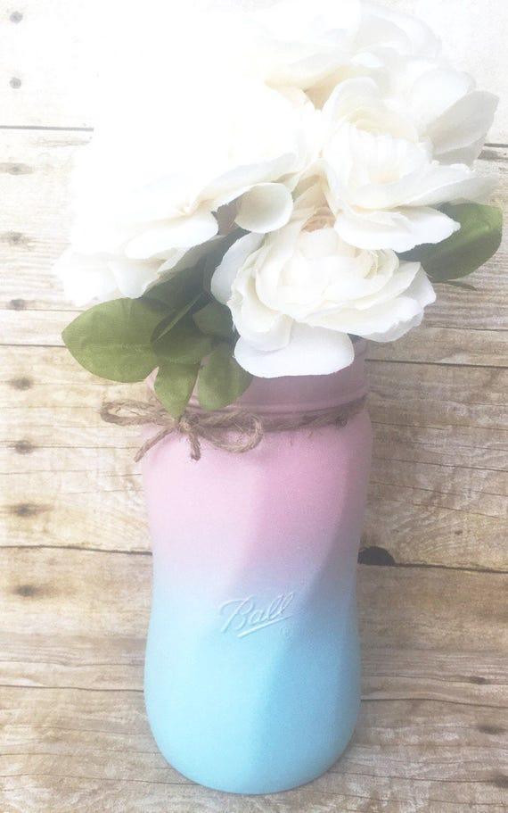 Single Hand Painted Spiral Mason Jars Wedding Centerpieces Etsy