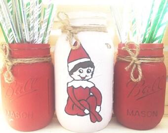 Set of 3 Hand Painted and Distressed Elf  Mason Jar, Christmas Decor, Rustic Decor, Christmas Gift, Home Decor, Mantle, Holiday.