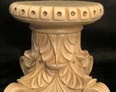 Vintage Plaster Pedestal Table Stand Hollywood Regency Acanthus Leaf Column Gilt