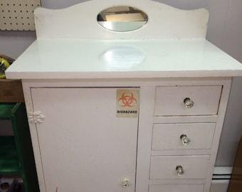 Early Antique Vintage Dental Mortuary Medical Cabinet Wood