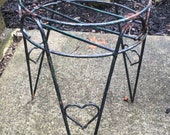Vintage Black Metal Wire Plant Stand Flower Pot Holder Hair Pin Legs Hearts