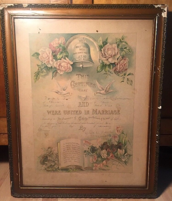 Antique 1900s Wood Gesso Gilded Frame Victorian Marriage Etsy