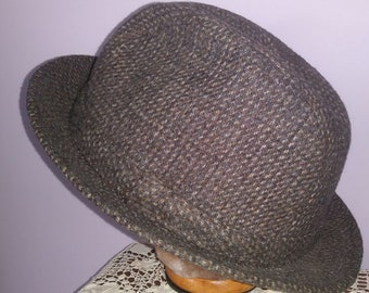 88d9e57afb9 Men s Vintage Fedora Hat Stetson Equalizer Tweed Movie Prop Large 7 1 4 to 7  3 8 Wool Blend Clean New Condition