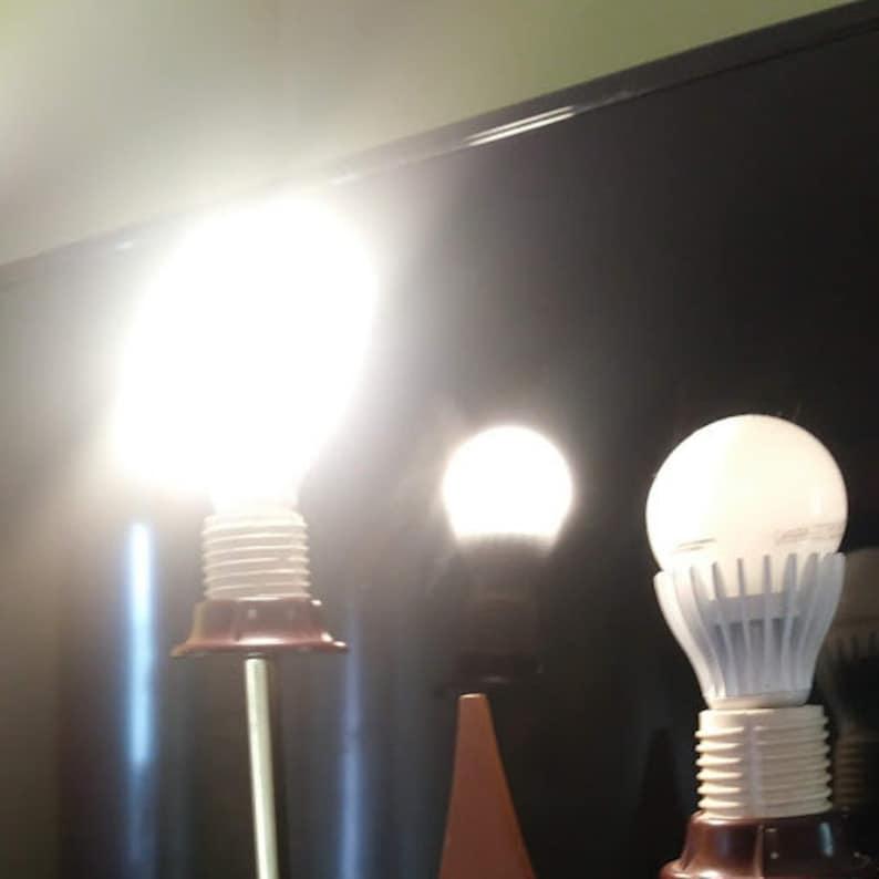 MCM Mid Century Modern Danish Modern 3 Way Teak Wood and Brass Table Lamp Living Room Bedside Lamp Light