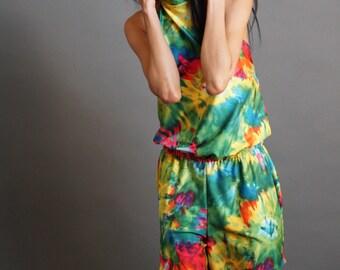 Tie Dye One-piece Romper with Pockets