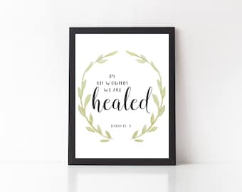 Isaiah 53:5 - bible verse print, isaiah 53 5, scripture print, art print, wall decor, quote printable