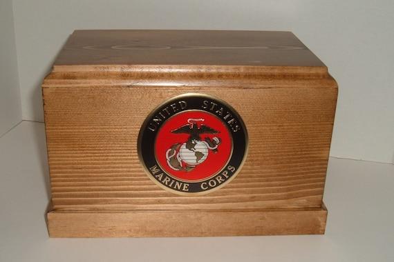 Marine Corps cremation urn wooden military urn