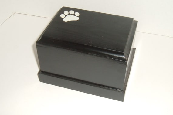 Pet cremation urn ( solid pine painted black)