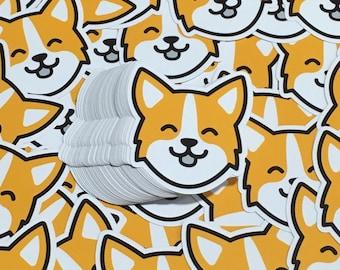 "Corgi Smiling Face - 3"" Vinyl Sticker"