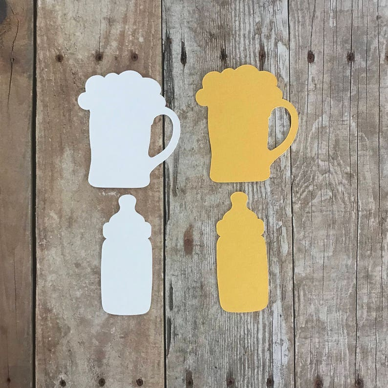 A Baby is Brewing ConfettiTable Decor Party Birthday Beer Mugs Baby Bottles Set of 100 Pieces in Yellow and White Shower