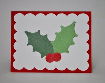 CLEARANCE - 75% OFF - Holly Jolly Christmas Handmade Greeting Card, Holiday Card, Christmas Card