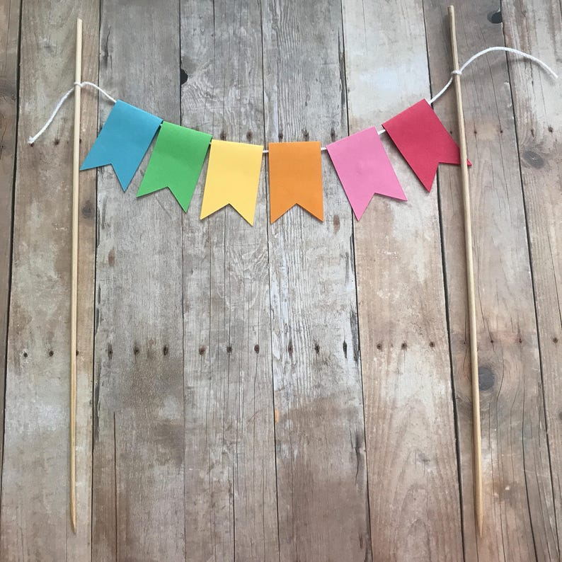 Rainbow Birthday Party or Baby Shower Cake Bunting with Optional Glitter Lettering