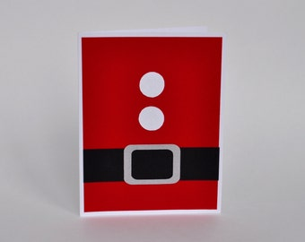 CLEARANCE - 75% OFF - Santa's Belt Handmade Greeting Card, Holiday Card, Christmas Card