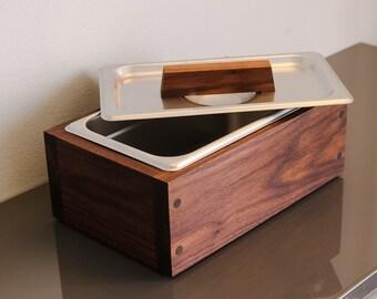 Modern Handmade Walnut wood countertop compost bin storage bin with Stainless Steel insert for Kitchen Countertop