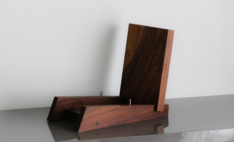 Modern Vinyl LP Record Storage Display Holder in Walnut Holds image 0