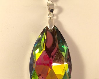Green crystal car charm, mirror charm, sun catcher