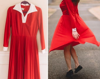 Vintage Red Pleated Dress | 1960s School Dress