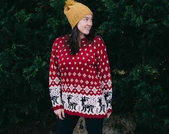 Vintage Christmas Sweater with Reindeer and Snowflakes