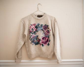 Vintage Eddie Bauer Floral Sweater