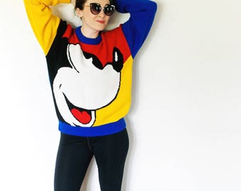 Vintage Mickey Mouse Sweater | Colorblock Mickey Sweater 1990s