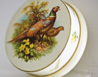 SALE! Vintage Quail Tin   Round Vintage Tin   Made in England