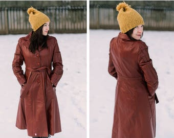 Vintage Leather Trench Women Small