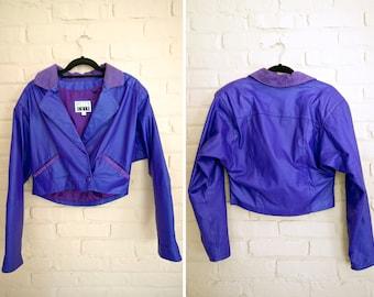 Purple Leather Moto Jacket   Cropped Leather 80s Jacket