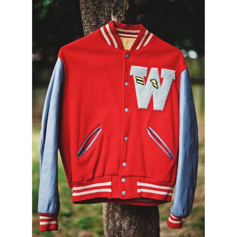 88cf20e970ee0a Vintage Letterman Varsity Jacket Wool and Leather W