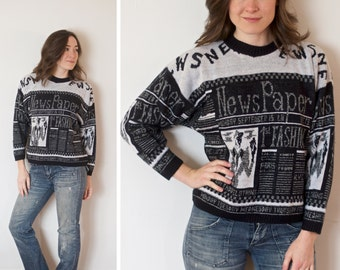 SALE! Vintage Newspaper Sweater | Black and White Newspaper Sweater