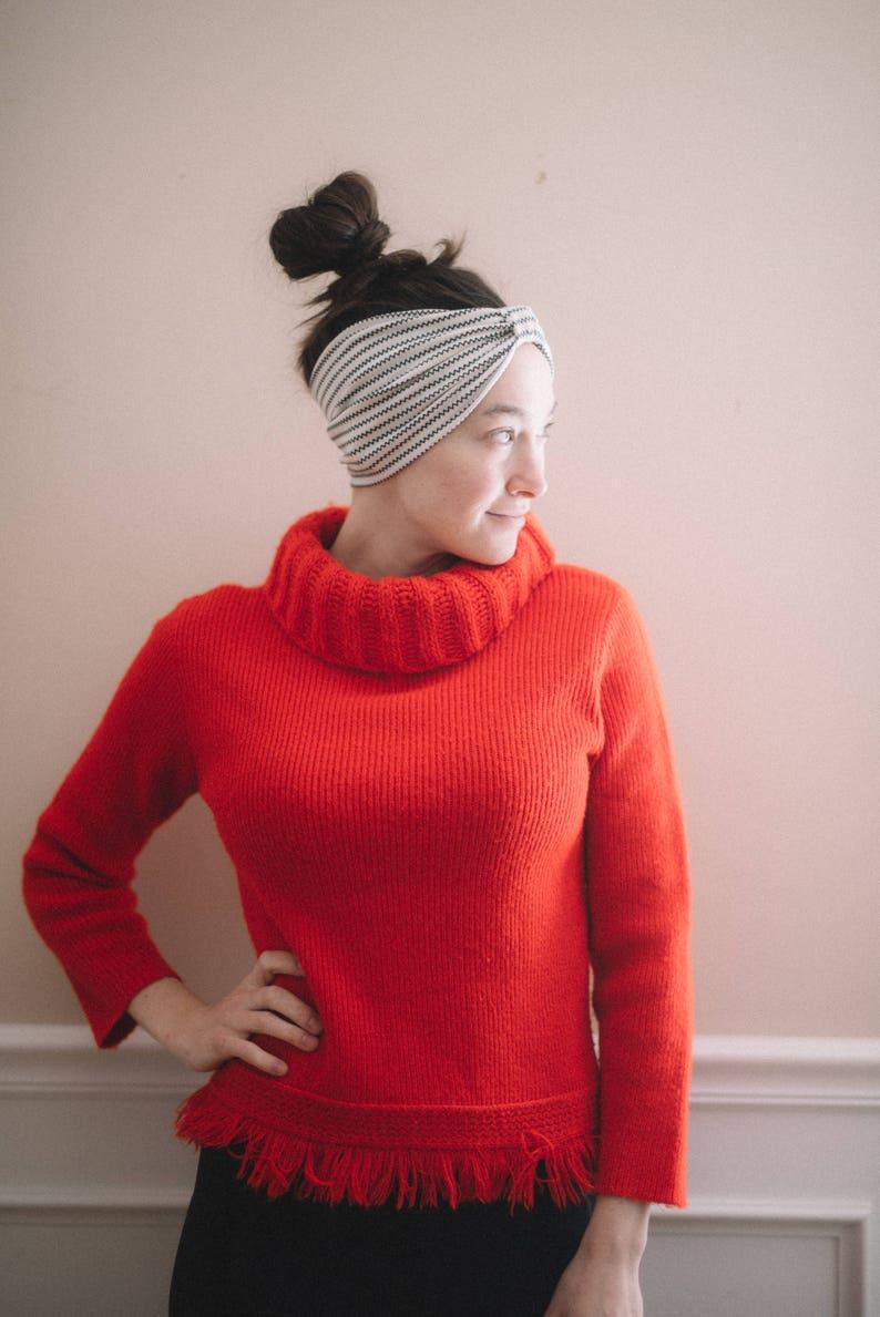 fb6a5aefd5a70f Vintage red fringe turtleneck sweater ribbed knit turtleneck | Etsy
