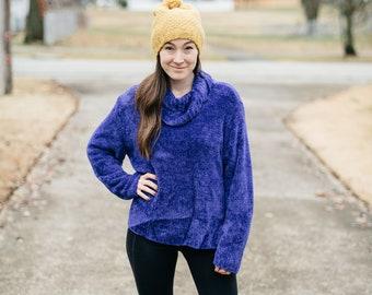Vintage Chenille Sweater Cowl Neck Turtleneck