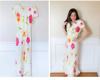 Vintage White Floral Dress Small
