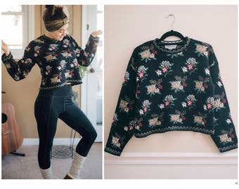 Vintage Black Floral Cropped Sweater | Small